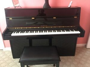 Black Lacquer Samick Up Right Piano W Matching Bench