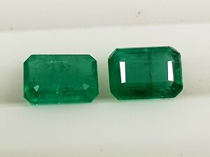 2.24 Ct Natural Zambia Top Quality Unstated Gemstone Emerald Cut Pair Loose Gems