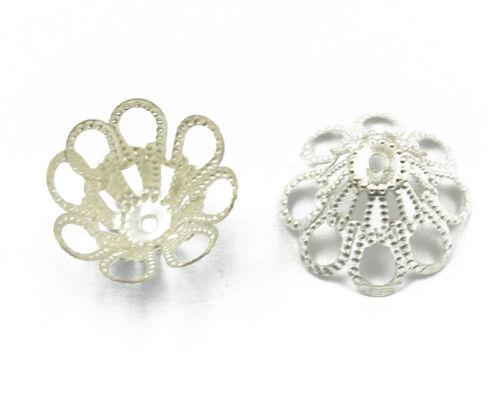 50 x Blumen Form Perlenkappen Zierkappen Perlkappen Basteln Silber 15x10mm neu