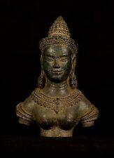 "Antique Khmer Style Bronze Apsara or Angel Statue - 20cm/8"""