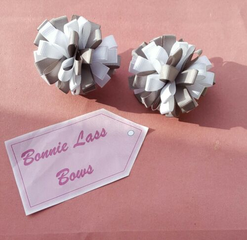 Bonnie Lass Bows 1 Pair of White /& Silver Grosgrain Ribbon Loopy Bow Bobbles