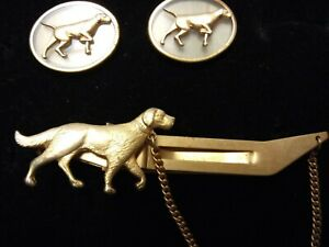 Vintage-Anson-Dog-Tie-Clasp-Clip-Bar-with-Chain-amp-Dog-Cuff-Links-Nice-Quality