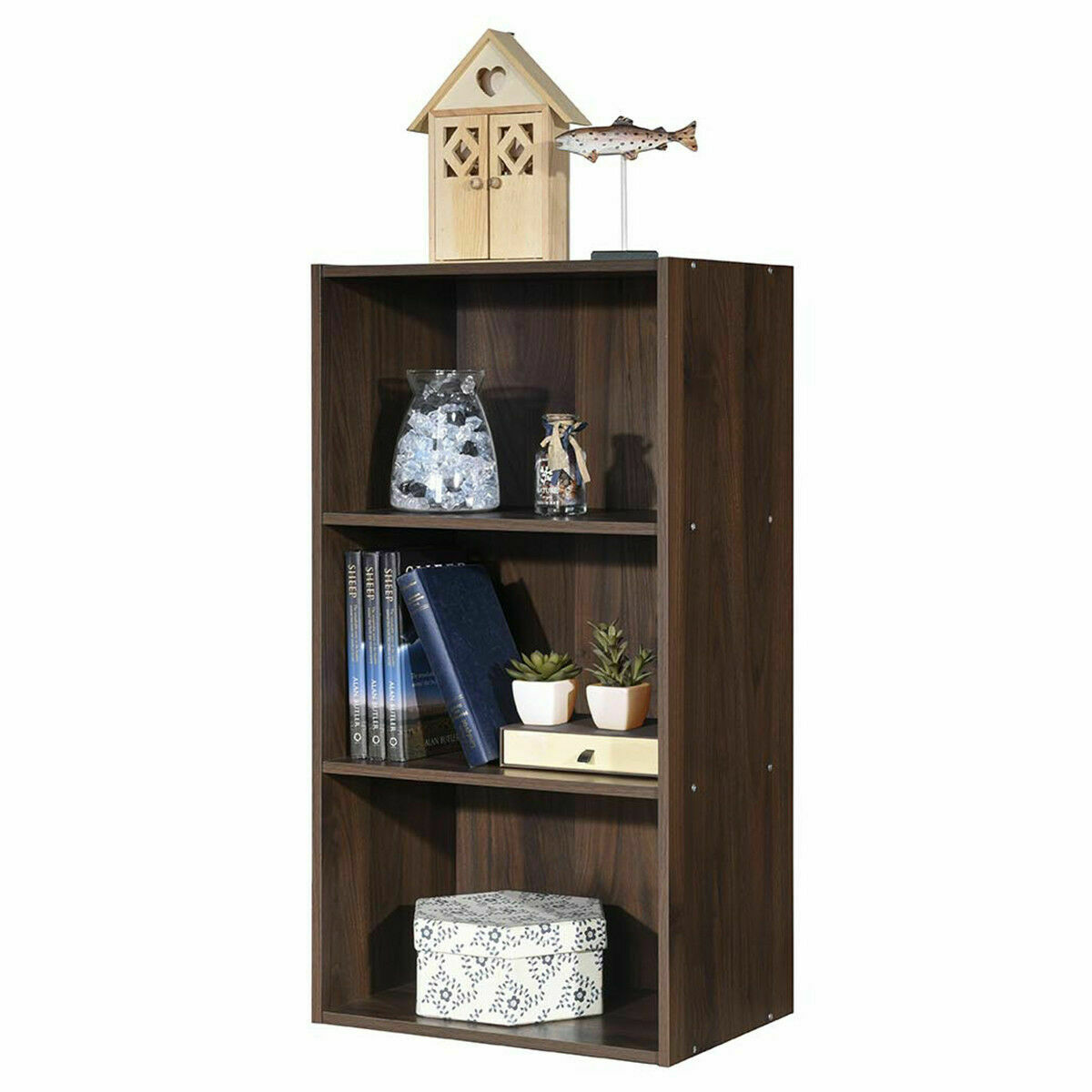 3 Open Shelf Bookcase Modern Multi Functional Storage Display Cabinet Walnut