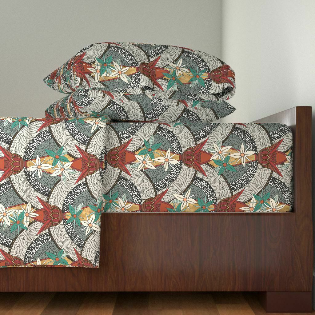 Art Deco Art Deco Floral Vintage Home 100% Cotton Sateen Sheet Set by Roostery