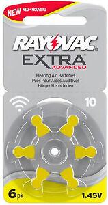60 x Rayovac Extra Advanced Hörgerätebatterien 10 10AU-6XEMF 10 Blister