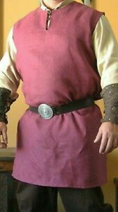 MEDIEVAL Red Color Tunic Sleeveless Renaissance LARP SCA