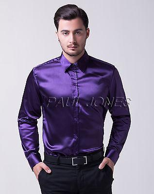Mode-Casual Herren Neu Seide-wie Satin Langarm Hemd Hemden Formale Poloshirt