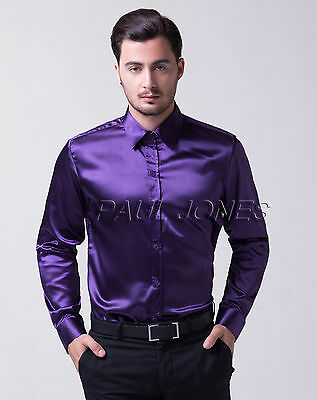 HOT Silk Satin Mens Long Sleeve Luxury Italian Style Shirts Dress Shirts T-Shirt