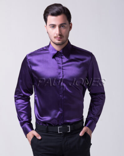 TOP FASHION SHIRTS Sexy Men Silk-Like Satin Shirt Formal Dress ...