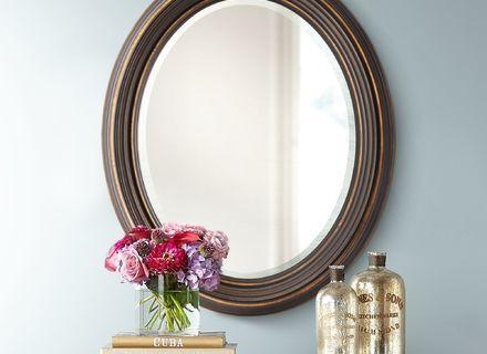 Dark Oil Rubbed Bronze Beveled Oval Wall Mirror 34 Bathroom Vanity