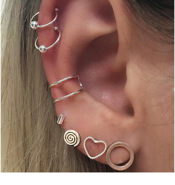 7pcs S Sliver Bohemian Retro Stud Clip Earrings Heart Round Ear Cuff Jewelry