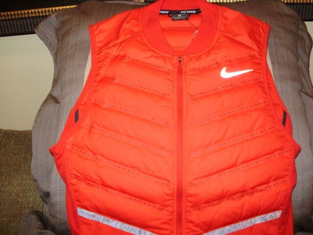 3bdd1f4b9f46 NIKE Running Aeroloft Full Zip Vest Jacket 800497 Red Men s Size Medium