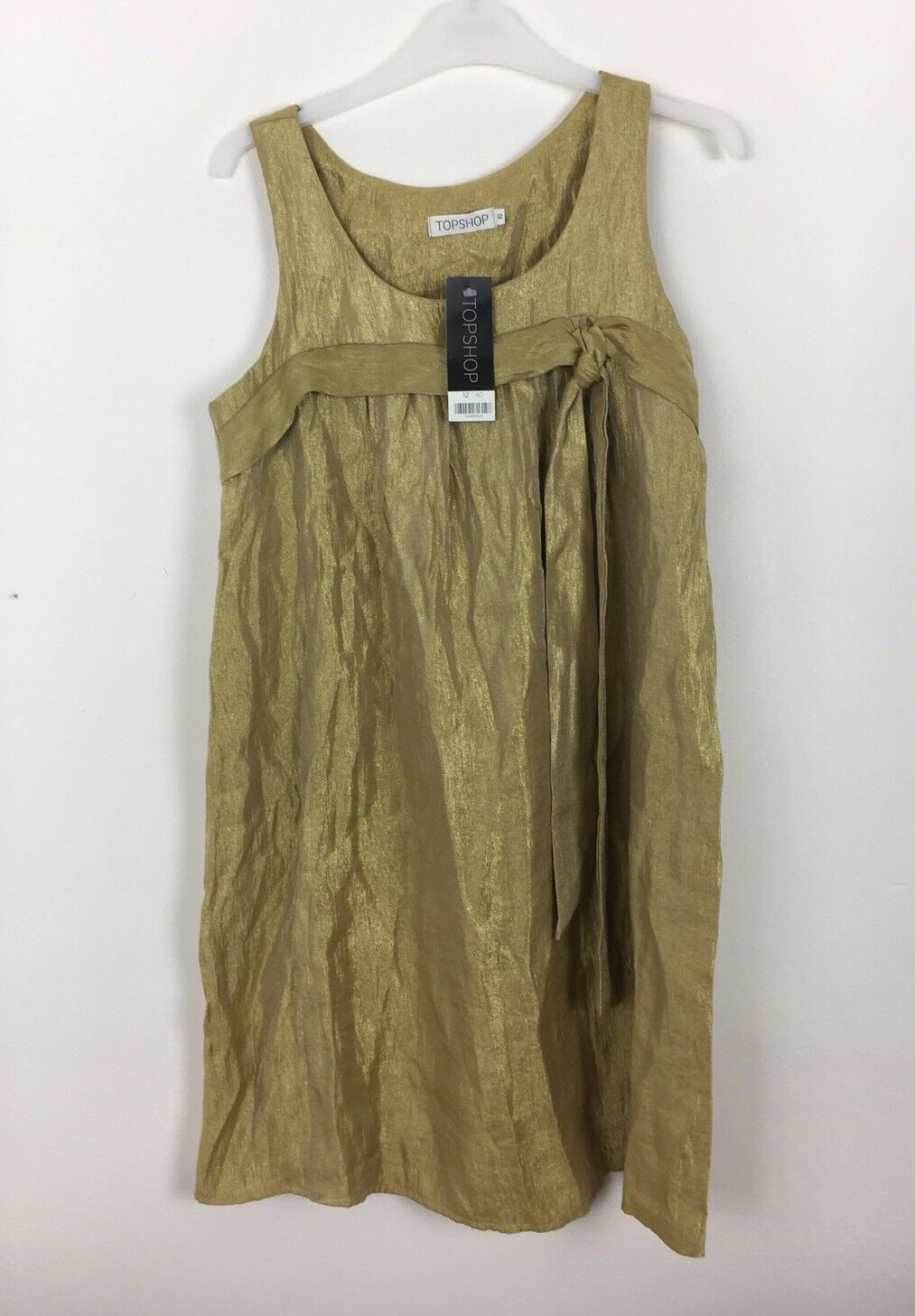 Topshop Gold Metallic Shimmer Sleeveless Dress Größe 12 -   (B1) | Authentische Garantie  | Viele Stile  | Überlegen