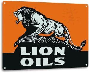 Lion Logo Gas Motor Oil Garage Retro Vintage Rustic Wall Decor Metal Tin Sign