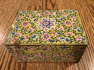 Antique-Chinese-Cloisonne-Enameled-Floral-Box-With-Cover