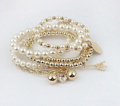 Fashion Womens Multilayer Gold Metal Pearl Beads Pendant Chain Bracelet 6pcs/set