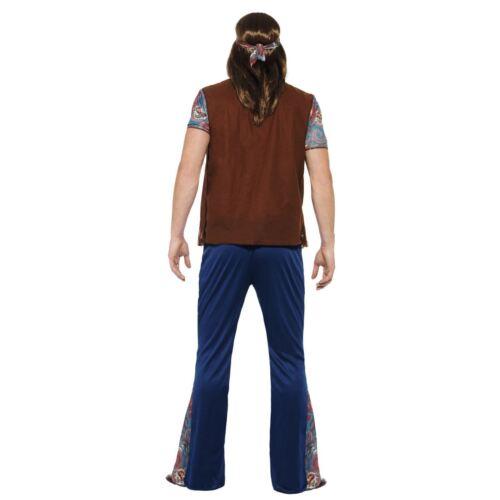 Da Uomo Adulti Hippy Costume Vestito Anni /'60 Anni 70 Woodstock Gilet