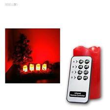 LED Advent Kerzen Set rot Adventskranz Adventskerzen mit Fernbedienung und LEDs