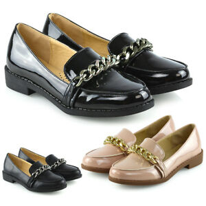 Womens-Slip-On-Loafers-Shoes-Ladies-Casual-Chain-Trim-Work-School-Pumps-Size-3-8