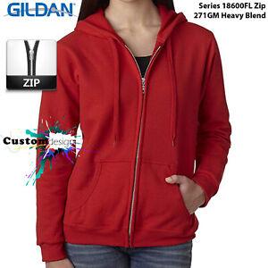 Gildan-Red-Zip-Up-Hoodie-Basic-Hooded-Sweatshirt-Sweater-Female-Ladies