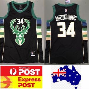 brand new f94cf 3d399 Milwaukee Bucks Giannis Antetokounmpo jersey, black color | eBay