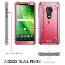 Poetic Double Layer Hybrid Shockproof Pink Cover Case for Moto G6 Play