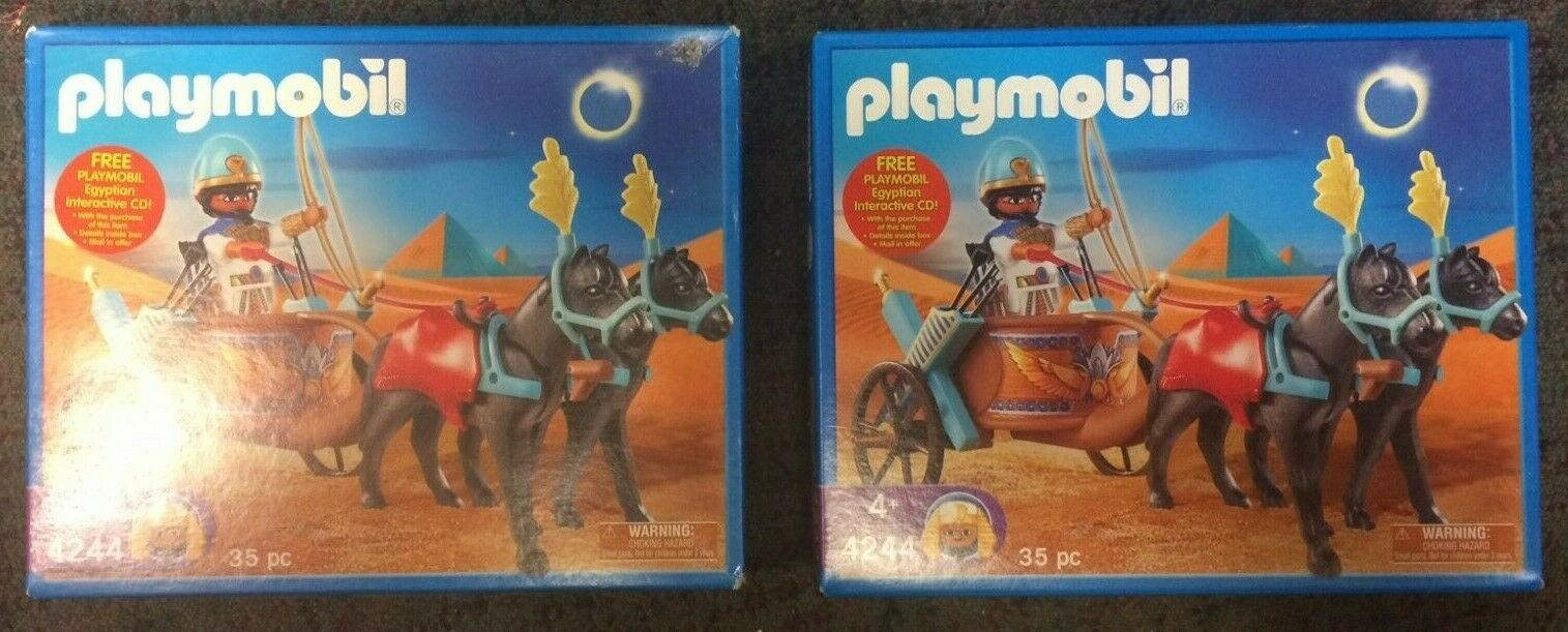 2 Sets Playmobil Playmobil Playmobil 4244 Egyptian Chariot nuovo in scatolaes (one scatola has a price smudge) ff3d0c