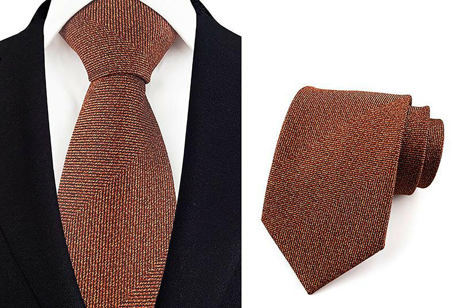 Tie Orange-Brown Handmade 100% Silk Wedding 8cm Width Tie