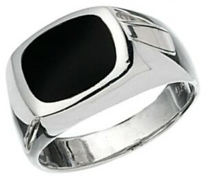 Elements 925 Polished Sterling Silver & Genuine Black Onyx Men's Signet Ring
