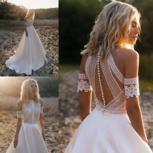 High-Neck-Wedding-Dresses-Beach-Boho-A-Line-Bridal-Gowns-Lace-Sleeveless-Custom