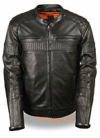 Mens Black Leather Triple Vent Scooter Jacket W Gun Pockets Quilted Shoulders