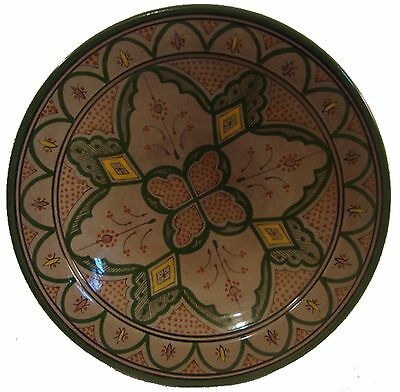 """Moroccan Ceramic HandPainted 14"""" Serving Plate #402 Brown/Green GREAT GIFT IDEA"""