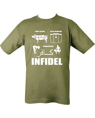 Pork Eating Infidel  Military Green T Shirt