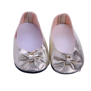 Doll Shoes For 18 Inch Ag American Doll Doll Clothes Sneakers Flats Dress Gold Ebay