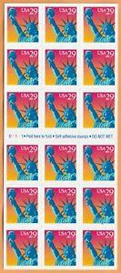 Scott-2599a-Statue-of-Liberty-Postage-Stamp-Pane-of-18-29-cent-MNH