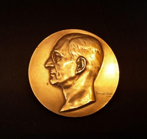 Plakette Medaille Bronze Belgien Charles Delchevalerie 1930 Georges Petit