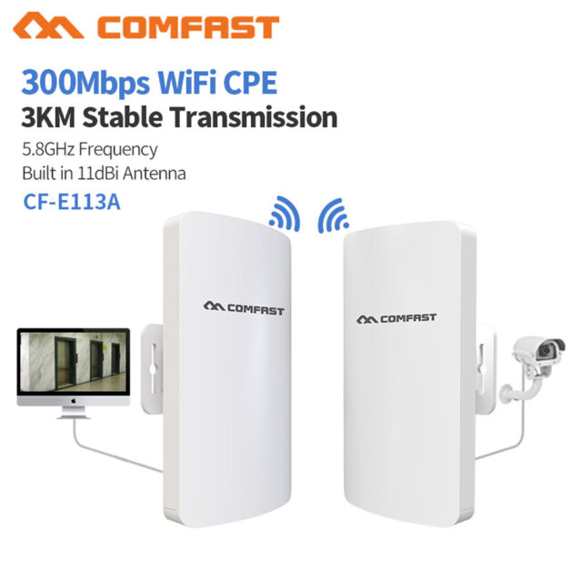 COMFAST WiFi Bridge CPE 300Mbps Outdoor Access Router Signal Repeater High Power