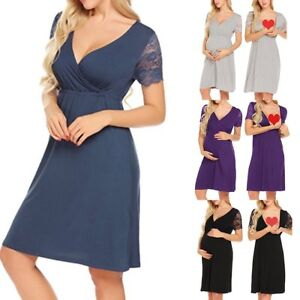 0f98476d59728 Details about Pregnant Women Summer Dress Maternity Breastfeeding Nursing  Dress Solid Clothes