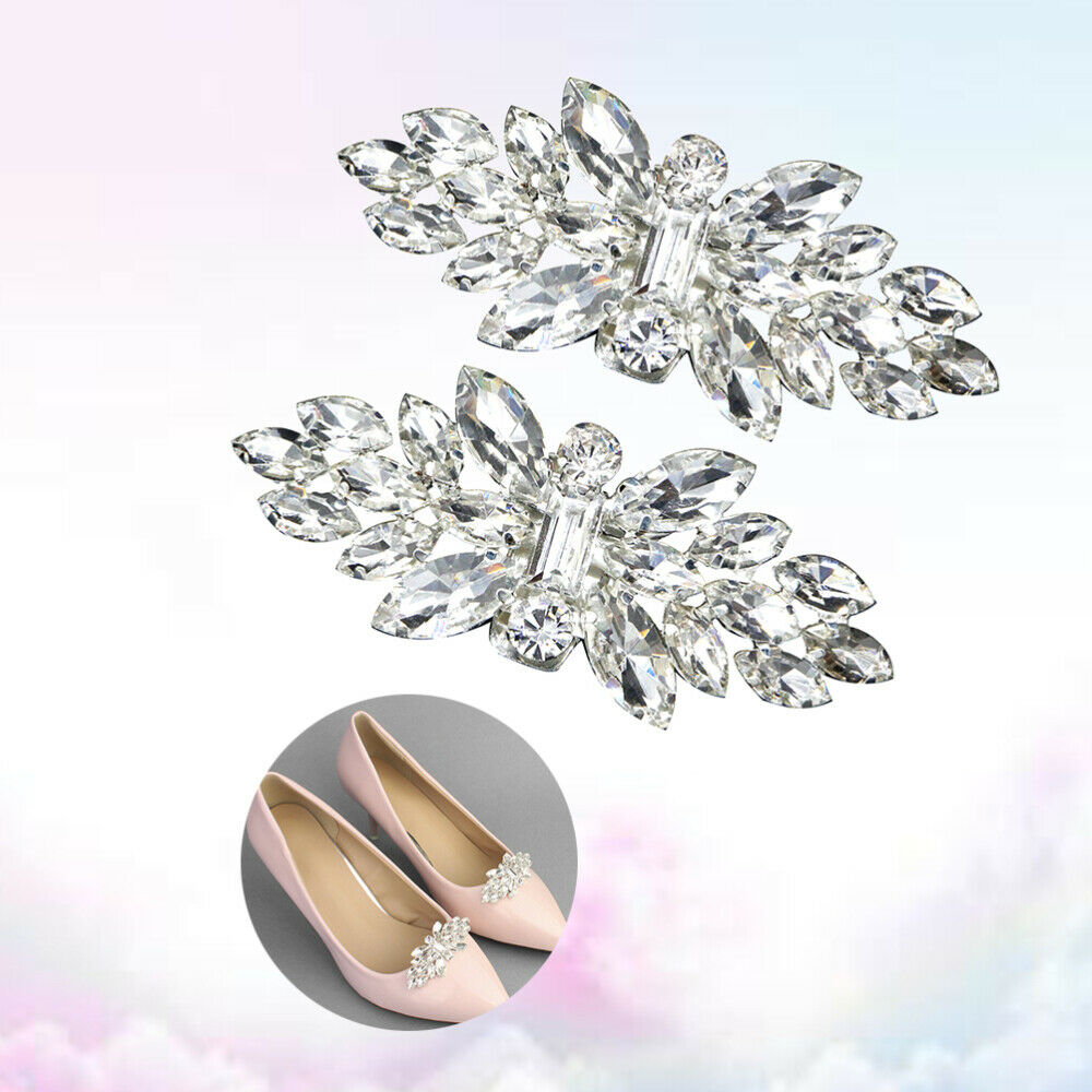 1 Pair Shoe Buckles Fashion Crystal Silver Shoe Decor Accessories for Wedding