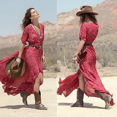 Western Style Womens V-Neck 3/4 Sleeve Maxi Party Dress Floral Beach Dresses S74