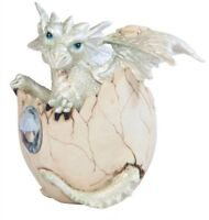 4.25 Inch White Baby Dragon In Eggshell With Gem Figurine, New, Free Shipping on sale