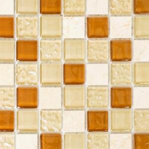 Das Bild Wird Geladen Glas Naturstein Mosaik Fliesen Beige Braun Bad Kueche