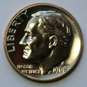 1968 S GEM BU PROOF ROOSEVELT DIME  10 CENT BRILLIANT UNCIRCULATED US COIN PF