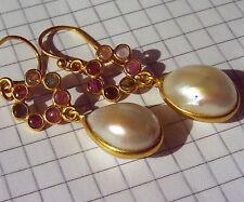 CeS Ohrringe pink und multicolor Turmalin, Tourmaline, Indigolith und Perlen