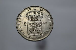 SWEDEN-2-KRONOR-1954-SILVER-NICE-DETAILS-A82-Z9763
