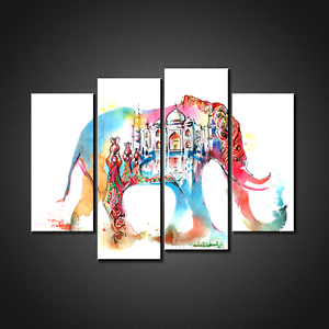 ELEPHANT-ABSTRACT-INK-DESIGN-CANVAS-PRINT-PICTURE-WALL-ART-HOME-DECOR-SET-OF-4
