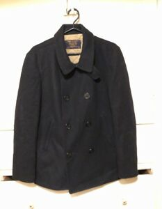 J-Crew-Mens-Bayswater-Military-Grade-Black-Wool-Thinsulate-Pea-Coat-Size-Large