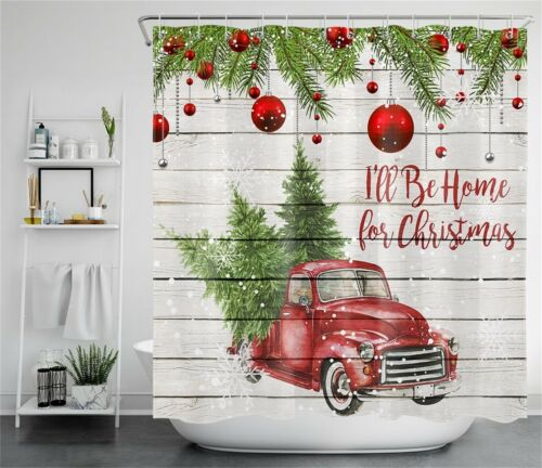 "Christmas Tree Red Truck Rustic Wood Plank Waterproof Fabric Shower Curtain 72/"""
