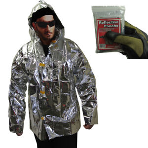 lightweight reflective survival jacket reflects heat for emergency