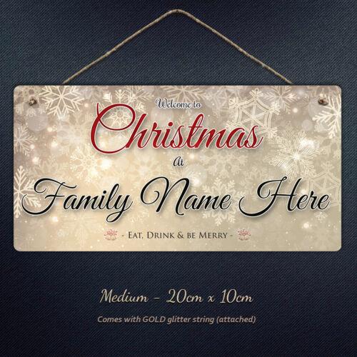Personnalisé Noël Nom de famille Suspendu Plaque de noël personnalisé cadeau Métal signe